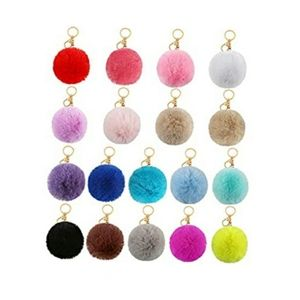 18 pieces pom pom keychains fluffy